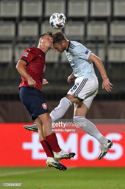 Stanislav Tecl of Czech Republic in action against Liam Cooper of Scotland during the UEFA Nations League soccer match between Czech Republic and...
