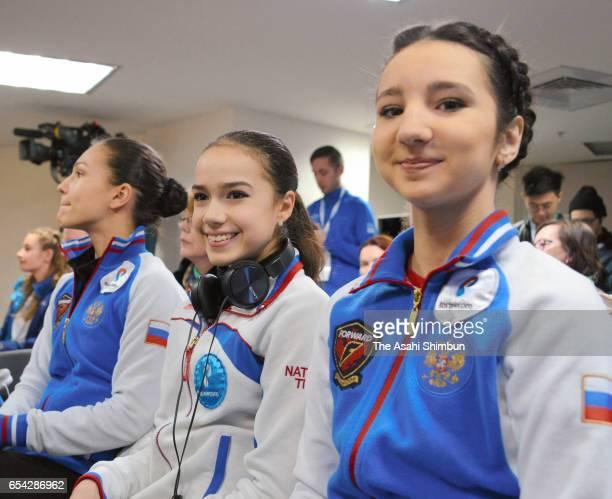 Stanislava Konstantinova Alina Zagitova and Polina Tsurskaya of Russia attend the Ladies Singles Draw during day two of the World Junior Figure...