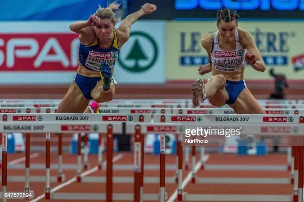 Stanislava LajákováSlovakia Olena YanovskaUkraine and Caridad JerezSpain during 60m Hurdles for women at European athletics indoor championships in...