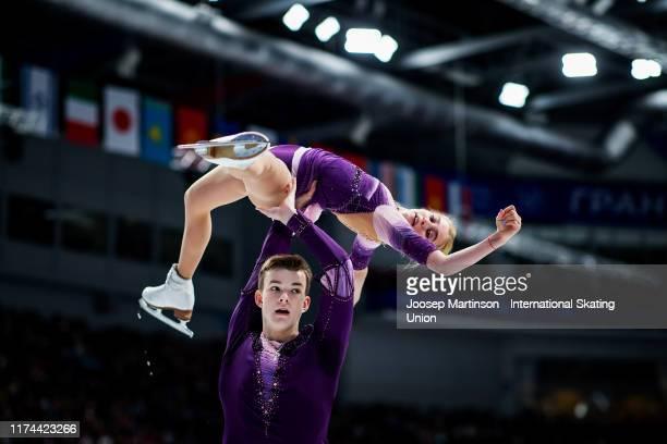 Stanislava Vislobokova and Aleksei Briukhanov of Russia compete in the Junior Pairs Free Skating during day 2 of the ISU Junior Grand Prix of Figure...