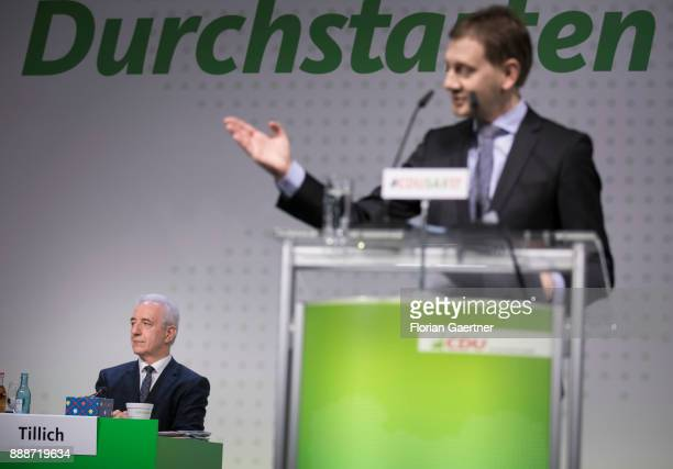 Stanislaw Tillich CDU prime minister of the German state of Saxony is pictured during the speech of Michael Kretschmer designated prime minister of...