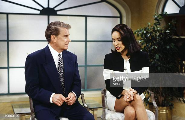 AIR THE I Stank Hole in One Episode 21 Pictured Karyn Parsons as Hilary Banks Regis Philbin Photo by Joseph Del Valle/NBCU Photo Bank