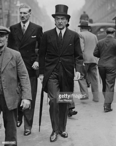 Stanley Bruce the Australian High Commissioner to the UK arrives at Westminster Abbey in London for the Coronation rehearsal of King George VI 7th...