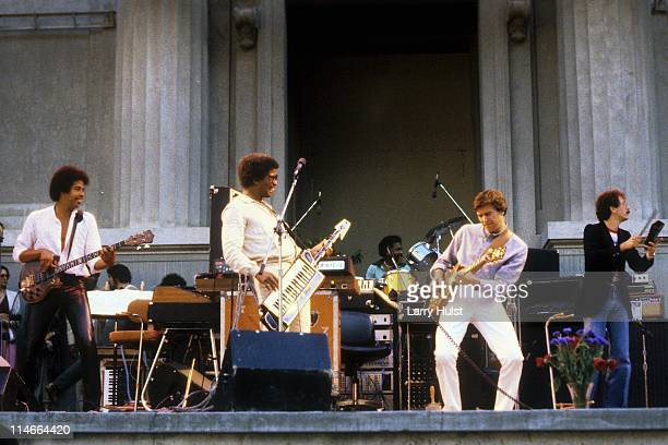 Stanley Clarke, Herbie Hancock, Alphonse Mouzon, John McLaughlin and Carlos Santana performs at the Greek Theater in Berkeley, California on May 20,...