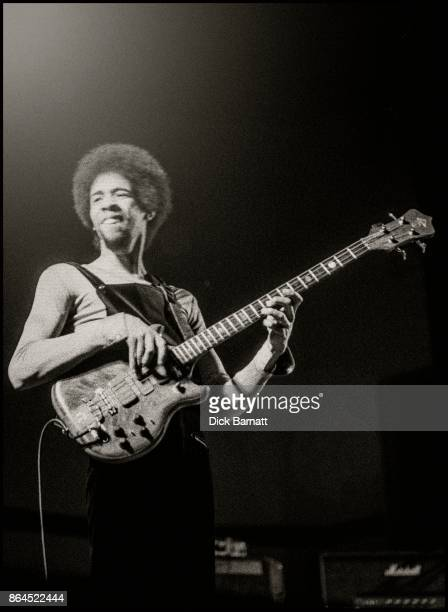 Stanley Clarke of Return To Forever performing on stage at the New Victoria Theatre in London, 4th May 1976.