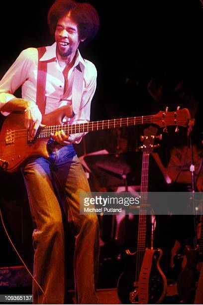 Stanley Clarke performs on stage with Return To Forever, New York, 24th April 1978.