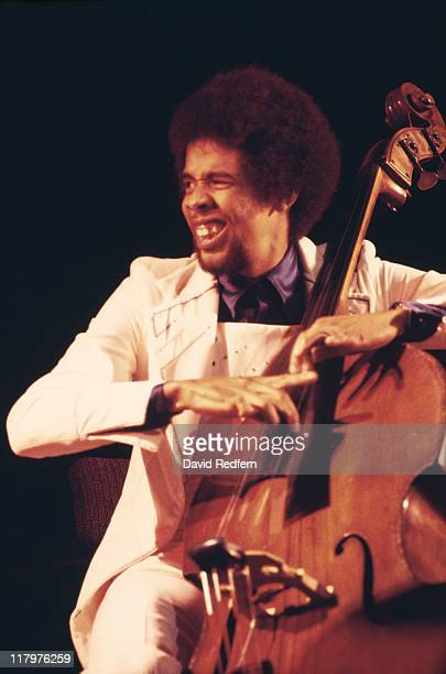 Stanley Clarke, US jazz bassist, playing the double bass on stage during a live concert performance with Return To Forever, in New York City, New...