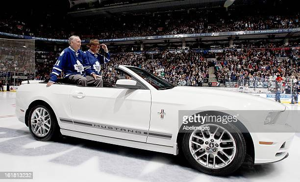 Stanley Cup Champions Bob Nevin and Eddie Shack take to the ice during a ceremony commemorating the 50th anniversary of the team before NHL action at...