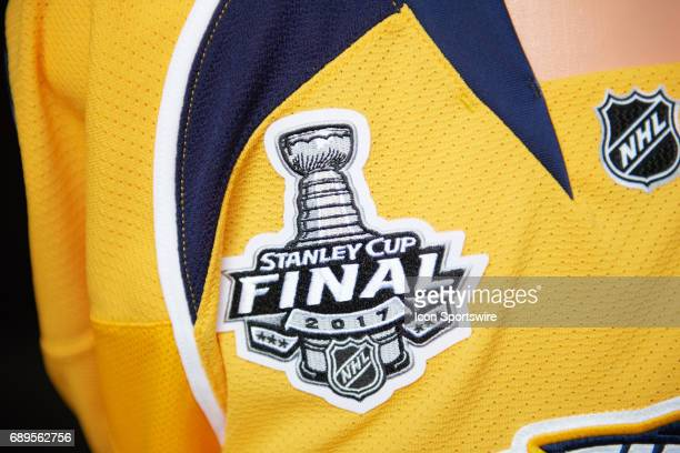 Stanley Cup Final logo is displayed on a Nashville Predators team jerseys during the NHL Stanley Cup Final Media Day at PPG Paints Arena in...