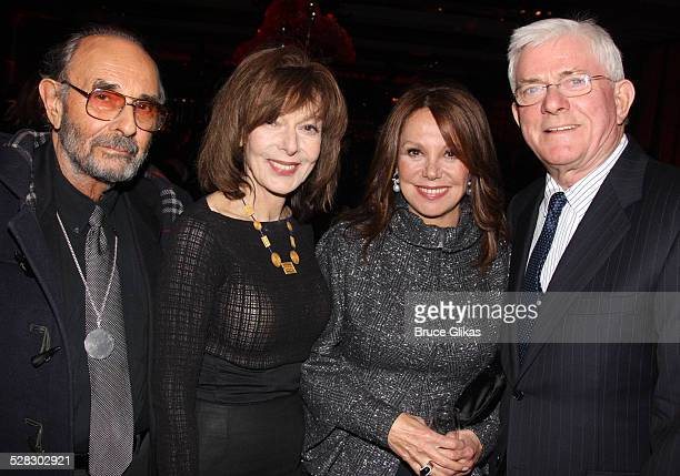 Stanley Donen Elaine May Marlo Thomas and Phil Donohue attend the after party for the opening night of West Side Story on Broadway at Pier Sixty on...