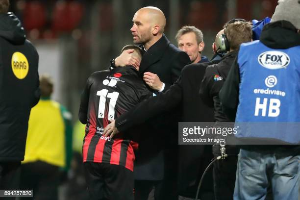 Stanley Elbers of Excelsior celebrates 20 with coach Mitchell van der Gaag of Excelsior during the Dutch Eredivisie match between Excelsior v FC...