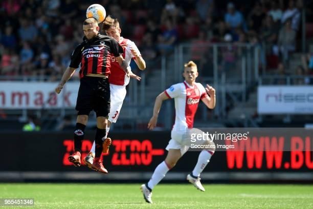 Stanley Elbers of Excelsior Nicolas Tagliafico of Ajax during the Dutch Eredivisie match between Excelsior v Ajax at the Van Donge De Roo Stadium on...