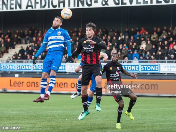 Stanley Elbers of PEC Zwolle Jurgen Mattheij of Excelsior Zian Flemming of PEC Zwolle Jeffry Fortes of Excelsior during the Dutch Eredivisie match...