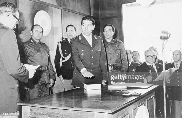 Stanley, Falkland Islands: General Mario Menendez takes the oath of office 4/7, as the first argentine governor of the Falkland Islands.