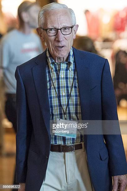 Stanley Fischer vice chairman of the US Federal Reserve arrives for a welcome dinner during the Jackson Hole economic symposium sponsored by the...