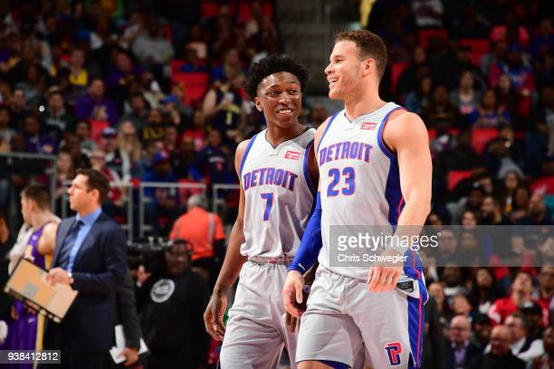 Stanley Johnson and Blake Griffin of the Detroit Pistons during the game against the Los Angeles Lakers on March 26 2018 at Little Caesars Arena in...