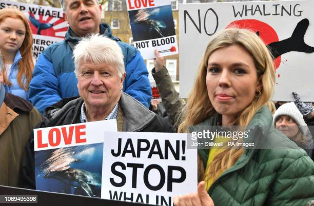 Stanley Johnson and Carrie Symonds at an antiwhaling protest outside the Japanese Embassy in central London