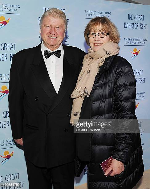Stanley Johnson andJennifer Kidd arrive on the sand carpet at Australia House attending the special screening event of David Attenborough's new...