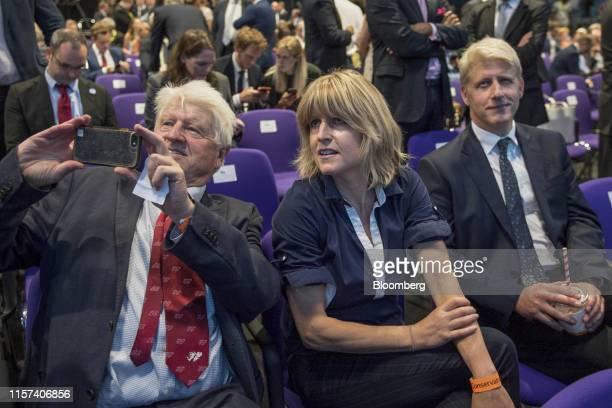 Stanley Johnson father of Boris Johnson left Rachel Johnson sister of Boris Johnson center and Jo Johnson brother of Boris Johnson attend the...