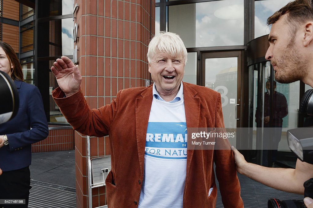 Stanley Johnson, father of Boris Johnson MP, speaks to journalists outside the Vote Leave campaign offices on June 24, 2016 in London, United Kingdom. The result from the historic EU referendum has now been declared and the United Kingdom has voted to LEAVE the European Union.
