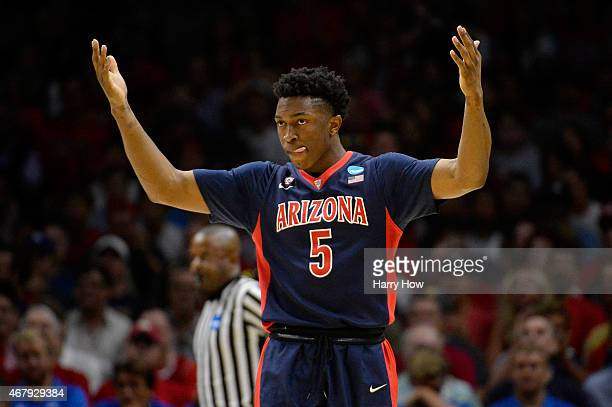 Stanley Johnson of the Arizona Wildcats reacts in the first half while taking on the Wisconsin Badgers during the West Regional Final of the 2015...