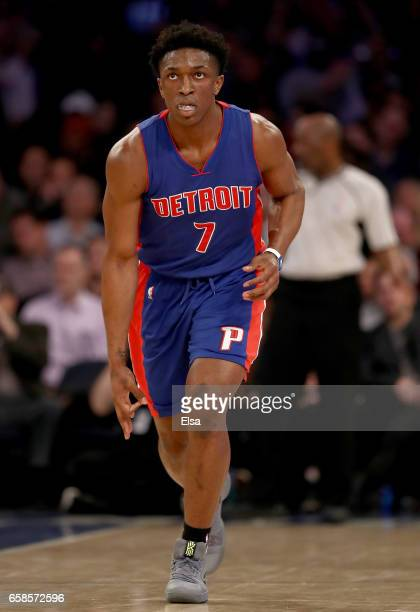 Stanley Johnson of the Detroit Pistons celebrates his three point shot in t he second half against the New York Knicks at Madison Square Garden on...