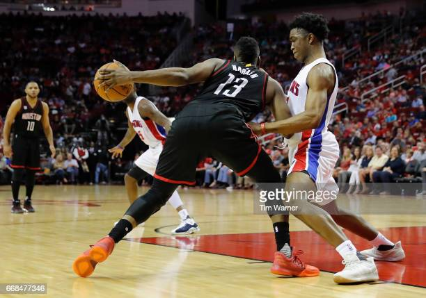 Stanley Johnson of the Detroit Pistons defends James Harden of the Houston Rockets in the first half at Toyota Center on April 7 2017 in Houston...