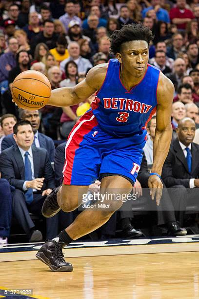Stanley Johnson of the Detroit Pistons drives during the second half against the Cleveland Cavaliers at Quicken Loans Arena on February 22 2016 in...