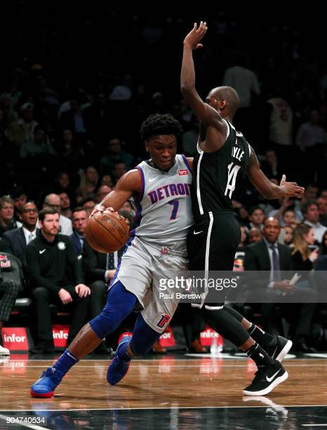 Stanley Johnson of the Detroit Pistons drives on Milton Doyle of the Brooklyn Nets in an NBA basketball game on January 10 2018 at Barclays Center in...