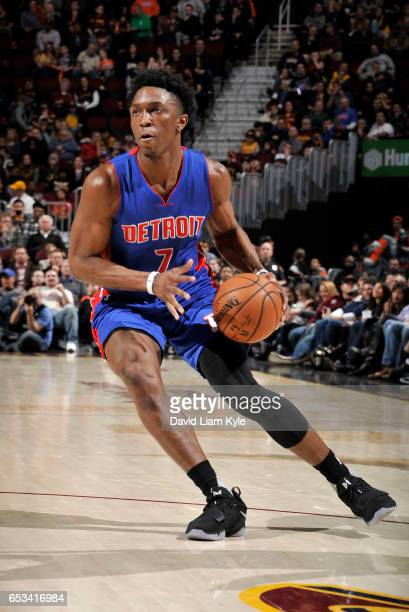 Stanley Johnson of the Detroit Pistons drives the ball against the Cleveland Cavaliers on March 14 2017 at Quicken Loans Arena in Cleveland Ohio NOTE...