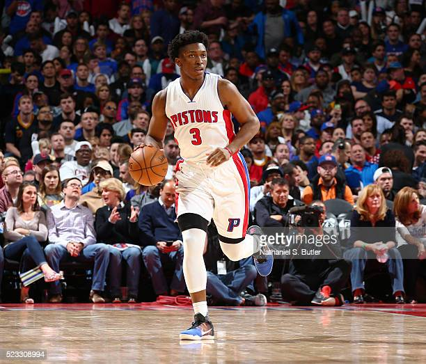 Stanley Johnson of the Detroit Pistons drives to the basket against the Cleveland Cavaliers during Game Three of the Eastern Conference Quarterfinals...
