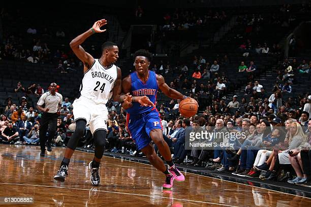 Stanley Johnson of the Detroit Pistons drives to the basket against Rondae HollisJefferson of the Brooklyn Nets on October 6 2016 at Barclays Center...
