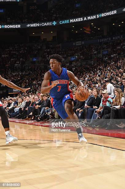 Stanley Johnson of the Detroit Pistons drives to the basket against the Toronto Raptors on October 26 2016 at the Air Canada Centre in Toronto...