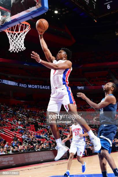 Stanley Johnson of the Detroit Pistons drives to the basket against the Minnesota Timberwolves on October 25 2017 at Little Caesars Arena in Detroit...