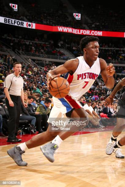 Stanley Johnson of the Detroit Pistons drives to the basket during the game against the Brooklyn Nets on March 30 2017 at The Palace of Auburn Hills...