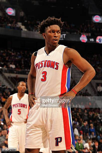Stanley Johnson of the Detroit Pistons during the game against the Oklahoma City Thunder on March 29 2016 at The Palace of Auburn Hills in Auburn...