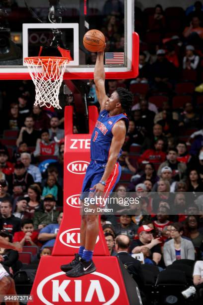 Stanley Johnson of the Detroit Pistons goes up for a dunk against the Chicago Bulls on April 11 2018 at the United Center in Chicago Illinois NOTE TO...