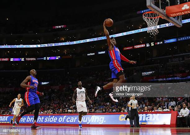 Stanley Johnson of the Detroit Pistons goes up for the slam dunk in the first half against the Los Angeles Clippers during the NBA game at Staples...