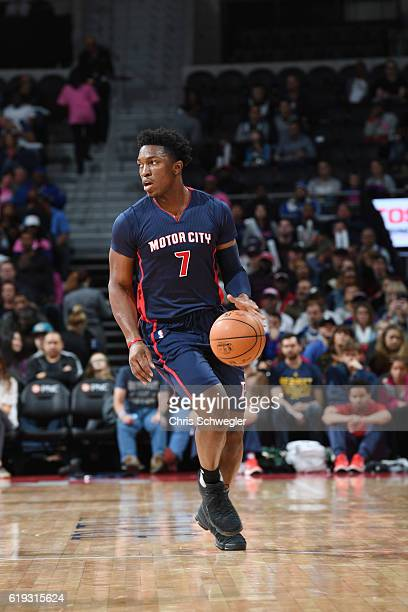 Stanley Johnson of the Detroit Pistons handles the ball against the Milwaukee Bucks on October 30 2016 at The Palace of Auburn Hills in Auburn Hills...