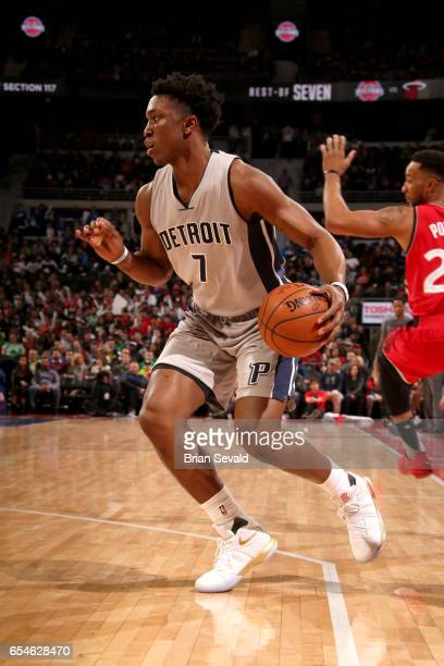 Stanley Johnson of the Detroit Pistons handles the ball against the Toronto Raptors on March 17 2017 at The Palace of Auburn Hills in Auburn Hills...