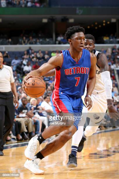 Stanley Johnson of the Detroit Pistons handles the ball against the Memphis Grizzlies on April 9 2017 at FedExForum in Memphis Tennessee NOTE TO USER...