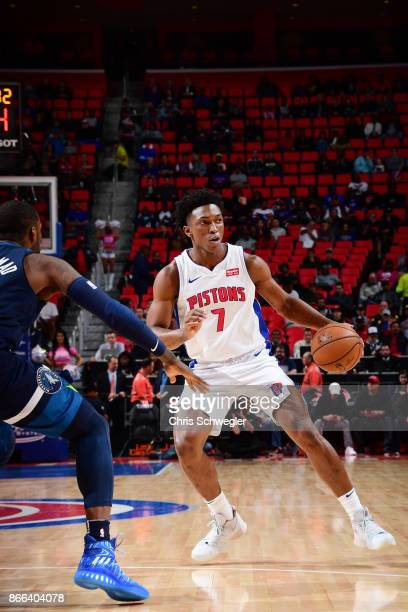 Stanley Johnson of the Detroit Pistons handles the ball against the Minnesota Timberwolves on October 25 2017 at Little Caesars Arena in Detroit...