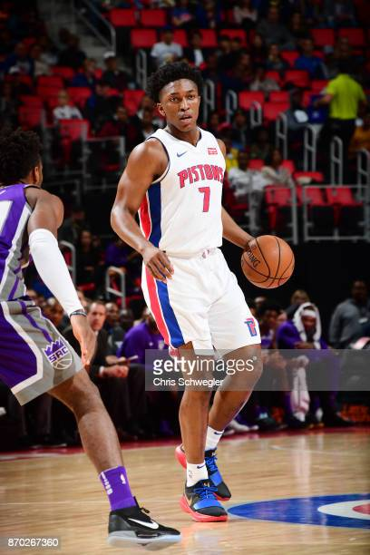 Stanley Johnson of the Detroit Pistons handles the ball against the Sacramento Kings on November 4 2017 at Little Caesars Arena in Detroit Michigan...