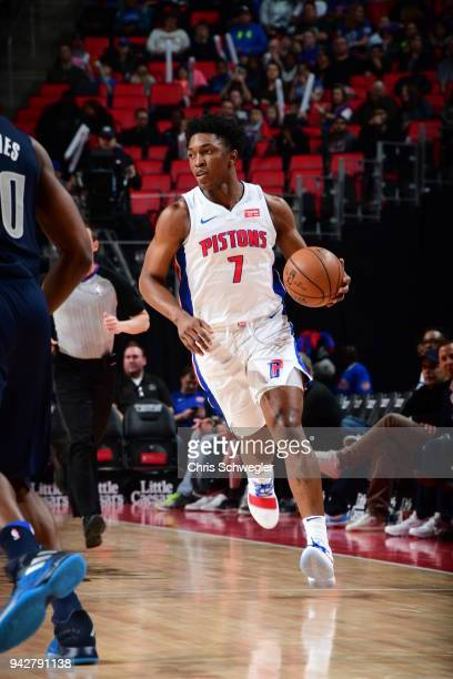 Stanley Johnson of the Detroit Pistons handles the ball against the Dallas Mavericks on April 6 2018 at Little Caesars Arena in Detroit Michigan NOTE...