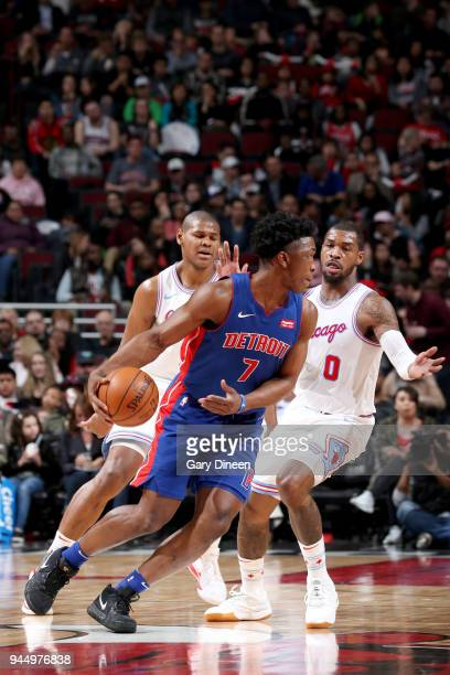 Stanley Johnson of the Detroit Pistons handles the ball against the Chicago Bulls on April 11 2018 at the United Center in Chicago Illinois NOTE TO...