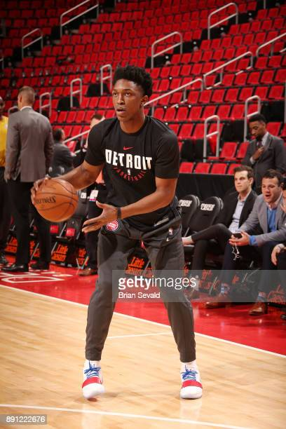 Stanley Johnson of the Detroit Pistons handles the ball before the game against the Denver Nuggets on December 12 2017 at Little Caesars Arena in...