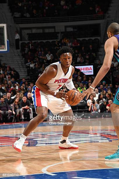 Stanley Johnson of the Detroit Pistons handles the ball during a game against the Charlotte Hornets on January 5 2017 at The Palace of Auburn Hills...