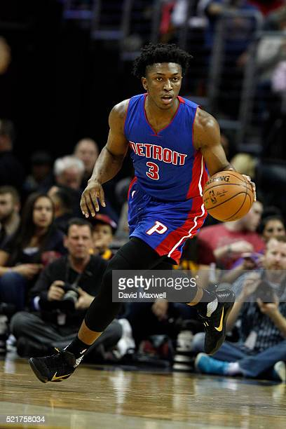 Stanley Johnson of the Detroit Pistons in action against the Cleveland Cavaliers at Quicken Loans Arena on April 13 2016 in Cleveland Ohio The...