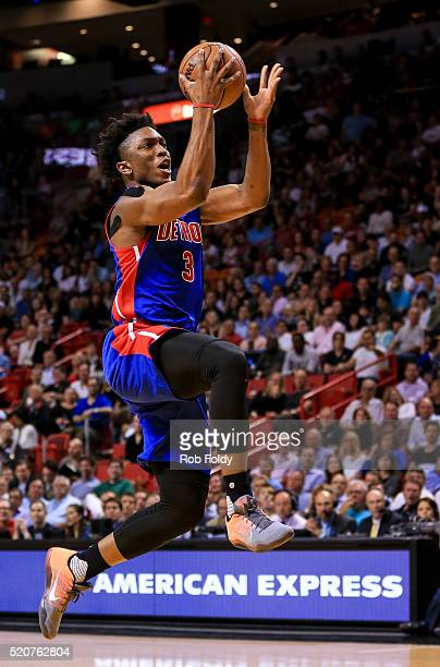 Stanley Johnson of the Detroit Pistons in action during the game against the Miami Heat at the American Airlines Arena on April 5 2016 in Miami...