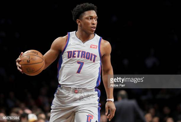 Stanley Johnson of the Detroit Pistons looks down the court against the Brooklyn Nets in the third quarter during their game at Barclays Center on...